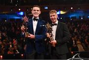 2 November 2018; PwC footballer of the year Brian Fenton of Dublin and PwC hurler of the year Cian Lynch, right, of Limerick during the PwC All Stars 2018 at the Convention Centre in Dublin. Photo by Ramsey Cardy/Sportsfile
