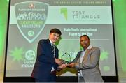 2 November 2018; Tim Tector is presented with the Test Triangle Male Youth International Player of the Year award by Praveen Madire, Managing Director of Test Triangle, during the Turkish Airlines 2018 Cricket Ireland Awards at the Royal College of Physicians in Dublin. Photo by Seb Daly/Sportsfile