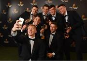 2 November 2018; Limerick hurler Cian Lynch takes a selfie with team-mates, back row, from left, Richie English, Dan Morrissey, Kyle Hayes, Declan Hannon, front row, from left, Seán Finn and Graeme Mulcahy with their All-Star awards at the PwC All Stars 2018 at the Convention Centre in Dublin.  Photo by Sam Barnes/Sportsfile