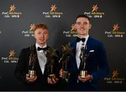 2 November 2018; Limerick hurler Cian Lynch with his All-Star award and Hurler of the Year award and Dublin footballer Brian Fenton with his All-Star award and Footballer of the Year award at the PwC All Stars 2018 at the Convention Centre in Dublin. Photo by Sam Barnes/Sportsfile
