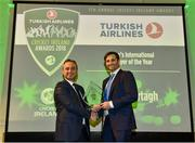 2 November 2018; Tim Murtagh, right, is presented with the Turkish Airlines Men's International Player of the Year award by Hasan Mutlu, General Manager of Turkish Airlines in Ireland, during the Turkish Airlines 2018 Cricket Ireland Awards at the Royal College of Physicians in Dublin. Photo by Seb Daly/Sportsfile