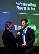 2 November 2018; Tim Murtagh, right, is onterviewed by Rob Hartnett after winning the Turkish Airlines Men's International Player of the Year award during the Turkish Airlines 2018 Cricket Ireland Awards at the Royal College of Physicians in Dublin. Photo by Seb Daly/Sportsfile