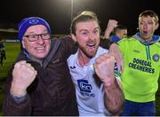 2 November 2018; Keith Cowan of Finn Harps celebrates with supporters after the SSE Airtricity League Promotion / Relegation Play-off Final 2nd leg match between Limerick FC and Finn Harps at Market's Field in Limerick. Photo by Matt Browne/Sportsfile