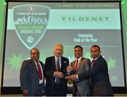 2 November 2018; Adamstown Cricket Club, represented by, from left, Ashok Cutinha, Sanjeeb Barik and Olag Sivanantham are presented with the Tildenet Emerging Club of the Year award by Joe Downey, Chairman of Tildenet, during the Turkish Airlines 2018 Cricket Ireland Awards at the Royal College of Physicians in Dublin. Photo by Seb Daly/Sportsfile