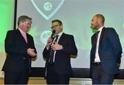 2 November 2018; Niall O'Brien, left, and John Anderson, centre, are interviewed by Rob Hartnett, MC, after being recognised for their careers and recent retirements during the Turkish Airlines 2018 Cricket Ireland Awards at the Royal College of Physicians in Dublin. Photo by Seb Daly/Sportsfile
