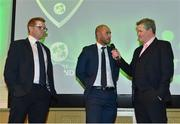 2 November 2018; Niall O'Brien, left, and John Anderson are interviewed by Rob Hartnett, MC, after being recognised for their careers and recent retirements during the Turkish Airlines 2018 Cricket Ireland Awards at the Royal College of Physicians in Dublin. Photo by Seb Daly/Sportsfile