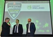 2 November 2018; Niall O'Brien, centre, and John Anderson, right, are interviewed by Rob Hartnett, MC, after being recognised for their careers and recent retirements during the Turkish Airlines 2018 Cricket Ireland Awards at the Royal College of Physicians in Dublin. Photo by Seb Daly/Sportsfile