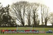 3 November 2018; Carnacon stand for the playing of Amhrán na bhFiann ahead of the 2018 Connacht Ladies Senior Club Football Final match between Carnacon and Kilkerrin-Clonberne at Ballyhaunis GAA Club in Mayo. Photo by Eóin Noonan/Sportsfile