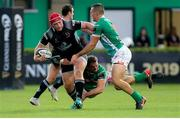 3 November 2018; Eric O'Sullivan of Ulster is tackled by Marco Barbini, left, and Ignacio Brex of Benetton during the Guinness PRO14 Round 8 match between Benetton and Ulster at Stadio Monigo in Treviso, Italy. Photo by John Dickson/Sportsfile