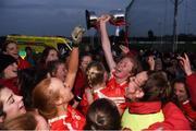 3 November 2018; Kilkerrin-Clonberne captain Louise Ward celebrates with team mates after the 2018 Connacht Ladies Senior Club Football Final match between Carnacon and Kilkerrin-Clonberne at Ballyhaunis GAA Club in Mayo. Photo by Eóin Noonan/Sportsfile