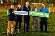 1 November 2018; In attendance at the launch of Ireland Lights Up with the GAA in partnership with RTÉ's Operation Transformation and Get Ireland Walking are, from left, Richard Seaver, Ballyboughal GAA Chairman, Joanna Cahill, Ballyboughal GAA Healthy Club Officer, Uachtarán Chumann Lúthchleas Gael John Horan, Jason King, Get Ireland Walking and Karl Henry, Operation Transformation, at Ballyboughal GAA Healthy Club in Dublin. In a bid to make exercise more accessible on the dark winter nights, 'Ireland Lights Up' will see participating clubs turn on their floodlights/lighting systems between 7-pm-9pm each Thursday for a five-week period (January 17th – February 21st  2019) as Operation Transformation returns to our screens in the New Year. Photo by Sam Barnes/Sportsfile