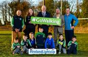 1 November 2018; In attendance at the launch of Ireland Lights Up with the GAA in partnership with RTÉ's Operation Transformation and Get Ireland Walking are, from left, Richard Seaver, Ballyboughal GAA Chairman, Joanna Cahill, Ballyboughal GAA Healthy Club Officer, Uachtarán Chumann Lúthchleas Gael John Horan, Jason King, Get Ireland Walking and Karl Henry, Operation Transformation, with members of Ballyboughal GAA at Ballyboughal GAA Healthy Club in Dublin. In a bid to make exercise more accessible on the dark winter nights, 'Ireland Lights Up' will see participating clubs turn on their floodlights/lighting systems between 7-pm-9pm each Thursday for a five-week period (January 17th – February 21st  2019) as Operation Transformation returns to our screens in the New Year. Photo by Sam Barnes/Sportsfile