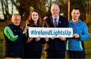 1 November 2018; In attendance at the  launch of Ireland Lights Up with the GAA in partnership with RTÉ's Operation Transformation and Get Ireland Walking are, from left, Richard Seaver, Ballyboughal GAA Chairman, Joanne Cahill, Ballyboughal GAA Healthy Club Officer, Uachtarán Chumann Lúthchleas Gael John Horan, and Karl Henry, Operation Transformation, at Ballyboughal GAA Healthy Club in Dublin. In a bid to make exercise more accessible on the dark winter nights, 'Ireland Lights Up' will see participating clubs turn on their floodlights/lighting systems between 7-pm-9pm each Thursday for a five-week period (January 17th – February 21st  2019) as Operation Transformation returns to our screens in the New Year. Photo by Sam Barnes/Sportsfile