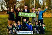 5 November 2018; In attendance at the  launch of Ireland Lights Up with the GAA in partnership with RTÉ's Operation Transformation and Get Ireland Walking are, from left, Richard Seaver, Ballyboughal GAA Chairman, Joanne Cahill, Ballyboughal GAA Healthy Club Officer, Uachtarán Chumann Lúthchleas Gael John Horan, Jason King, Get Ireland Walking and Karl Henry, Operation Transformation, with members of Ballyboughal GAA at Ballyboughal GAA Healthy Club in Dublin. In a bid to make exercise more accessible on the dark winter nights, 'Ireland Lights Up' will see participating clubs turn on their floodlights/lighting systems between 7-pm-9pm each Thursday for a five-week period (January 17th – February 21st  2019) as Operation Transformation returns to our screens in the New Year. Photo by Sam Barnes/Sportsfile
