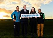 1 November 2018; In attendance at the launch of Ireland Lights Up with the GAA in partnership with RTÉ's Operation Transformation and Get Ireland Walking are, from left, Karl Henry, Operation Transformation, Joanna Cahill, Ballyboughal GAA Healthy Club Officer, Uachtarán Chumann Lúthchleas Gael John Horan, and Richard Seaver, Ballyboughal GAA Chairman, at Ballyboughal GAA Healthy Club in Dublin. In a bid to make exercise more accessible on the dark winter nights, 'Ireland Lights Up' will see participating clubs turn on their floodlights/lighting systems between 7-pm-9pm each Thursday for a five-week period (January 17th – February 21st  2019) as Operation Transformation returns to our screens in the New Year. Photo by Sam Barnes/Sportsfile