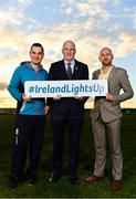 5 November 2018; In attendance at the launch of Ireland Lights Up with the GAA in partnership with RTÉ's Operation Transformation and Get Ireland Walking are, from left, Karl Henry, Operation Transformation, Uachtarán Chumann Lúthchleas Gael John Horan, and Jason King, Get Ireland Walking, at Ballyboughal GAA Healthy Club in Dublin. In a bid to make exercise more accessible on the dark winter nights, 'Ireland Lights Up' will see participating clubs turn on their floodlights/lighting systems between 7-pm-9pm each Thursday for a five-week period (January 17th – February 21st  2019) as Operation Transformation returns to our screens in the New Year. Photo by Sam Barnes/Sportsfile