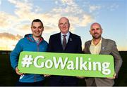 1 November 2018; In attendance at the launch of Ireland Lights Up with the GAA in partnership with RTÉ's Operation Transformation and Get Ireland Walking are, from left, Karl Henry, Operation Transformation, Uachtarán Chumann Lúthchleas Gael John Horan, and Jason King, Get Ireland Walking, at Ballyboughal GAA Healthy Club in Dublin. In a bid to make exercise more accessible on the dark winter nights, 'Ireland Lights Up' will see participating clubs turn on their floodlights/lighting systems between 7-pm-9pm each Thursday for a five-week period (January 17th – February 21st  2019) as Operation Transformation returns to our screens in the New Year. Photo by Sam Barnes/Sportsfile