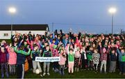 5 November 2018; Attendees including Uachtarán Chumann Lúthchleas Gael John Horan and Karly Henry, Operation Transformation, at the launch of Ireland Lights Up with the GAA in partnership with RTÉ's Operation Transformation and Get Ireland Walking at Ballyboughal GAA Healthy Club in Dublin. In a bid to make exercise more accessible on the dark winter nights, 'Ireland Lights Up' will see participating clubs turn on their floodlights/lighting systems between 7-pm-9pm each Thursday for a five-week period (January 17th – February 21st  2019) as Operation Transformation returns to our screens in the New Year. Photo by Sam Barnes/Sportsfile