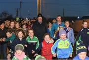 5 November 2018; Attendees including Uachtarán Chumann Lúthchleas Gael John Horan, centre left, and Karly Henry, Operation Transformation, centre, right, at the launch of Ireland Lights Up with the GAA in partnership with RTÉ's Operation Transformation and Get Ireland Walking at Ballyboughal GAA Healthy Club in Dublin. In a bid to make exercise more accessible on the dark winter nights, 'Ireland Lights Up' will see participating clubs turn on their floodlights/lighting systems between 7-pm-9pm each Thursday for a five-week period (January 17th – February 21st  2019) as Operation Transformation returns to our screens in the New Year. Photo by Sam Barnes/Sportsfile