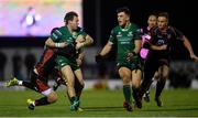 3 November 2018; Kieran Marmion of Connacht is tackled by Jason Tovey of Dragons during the Guinness PRO14 Round 8 match between Connacht and Dragons at the Sportsground in Galway. Photo by Ramsey Cardy/Sportsfile