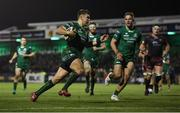 3 November 2018; Tom Farrell of Connacht runs in his side's fifth try during the Guinness PRO14 Round 8 match between Connacht and Dragons at the Sportsground in Galway. Photo by Ramsey Cardy/Sportsfile