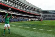 3 November 2018; Niall Scannell of Ireland practises a lineout prior to the International Rugby match between Ireland and Italy at Soldier Field in Chicago, USA. Photo by Brendan Moran/Sportsfile
