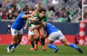 3 November 2018; Joey Carbery of Ireland is tackled by Luca Bigi, left, and Tiziano Pasquali of Italy during the International Rugby match between Ireland and Italy at Soldier Field in Chicago, USA. Photo by Brendan Moran/Sportsfile