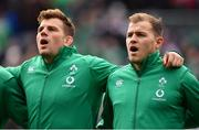 3 November 2018; Will Addison of Ireland, right, sings the anthem alongside team-mate Jordi Murphy prior to the International Rugby match between Ireland and Italy at Soldier Field in Chicago, USA. Photo by Brendan Moran/Sportsfile