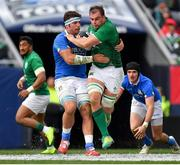 3 November 2018; Rhys Ruddock of Ireland is tackled by Marco Fuser of Italy during the International Rugby match between Ireland and Italy at Soldier Field in Chicago, USA. Photo by Brendan Moran/Sportsfile