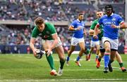 3 November 2018; Garry Ringrose of Ireland scores his side's seventh try, watched by Ian McKinley of Italy, during the International Rugby match between Ireland and Italy at Soldier Field in Chicago, USA. Photo by Brendan Moran/Sportsfile