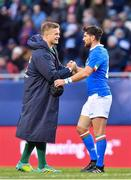 3 November 2018; Josh van der Flier of Ireland shakes hands with Ian McKinley of Italy following the International Rugby match between Ireland and Italy at Soldier Field in Chicago, USA. Photo by Brendan Moran/Sportsfile