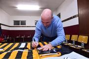 3 November 2018; DJ Carey signs Kilkenny jerseys before the Benefit Match between Tipperary and Kilkenny at Bishop Quinlan Park in Tipperary. Photo by Matt Browne/Sportsfile