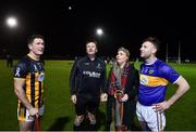 3 November 2018; Amanda Stapleton does the coin toss with referee Brian Gavin and Kilkenny captain Paul Murphy, Tipperary captain and brother of Amanda Stapleton Paddy Stapleton before the Benefit Match between Tipperary and Kilkenny at Bishop Quinlan Park in Tipperary. Photo by Matt Browne/Sportsfile