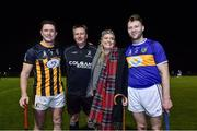 3 November 2018; Amanda Stapleton with referee Brian Gavin, Kilkenny captain Paul Murphy and her brother and Tipperary captain Paddy Stapleton before the Benefit Match between Tipperary and Kilkenny at Bishop Quinlan Park in Tipperary. Photo by Matt Browne/Sportsfile