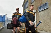 4 November 2018; Tony Kelly, right, and Aonghus Keane of Ballyea arrive prior to the AIB Munster GAA Hurling Senior Club Championship semi-final match between Ballyea and Ballygunner at Walsh Park in Waterford. Photo by Matt Browne/Sportsfile