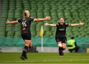 4 November 2018; Nicola Sinnott, left, of Wexford Youths celebrates with team mate Kylie Murphy following the Continental Tyres FAI Women's Senior Cup Final match between Peamount United and Wexford Youths Women FC at the Aviva Stadium in Dublin. Photo by Ramsey Cardy/Sportsfile