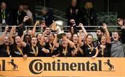 4 November 2018; Kylie Murphy of Wexford Youths lifts the cup following the Continental Tyres FAI Women's Senior Cup Final match between Peamount United and Wexford Youths Women FC at the Aviva Stadium in Dublin. Photo by Ramsey Cardy/Sportsfile