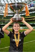 4 November 2018; Lauren Dwyer of Wexford Youths celebrates withthe cup following the Continental Tyres FAI Women's Senior Cup Final match between Peamount United and Wexford Youths Women FC at the Aviva Stadium in Dublin. Photo by Ramsey Cardy/Sportsfile