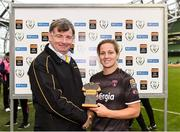 4 November 2018; Katrina Parrock of Wexford Youths is presented with the player of the match award by Eddie Ryan, Marketing Director at Continental after the Continental Tyres FAI Women's Senior Cup Final match between Peamount United and Wexford Youths Women FC at the Aviva Stadium in Dublin. Photo by Eóin Noonan/Sportsfile