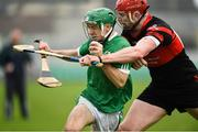 4 November 2018; Kevin Connolly of Coolderry in action against Edward Byrne of Mount Leinster Rangers during the AIB Leinster GAA Hurling Senior Club Championship quarter-final match between Coolderry and Mount Leinster Rangers at Bord na Mona O'Connor Park in Tullamore, Offaly. Photo by Barry Cregg/Sportsfile