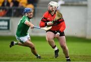 4 November 2018; Dean Grennan of Mount Leinster Rangers in action against Brian Carroll of Coolderry during the AIB Leinster GAA Hurling Senior Club Championship quarter-final match between Coolderry and Mount Leinster Rangers at Bord na Mona O'Connor Park in Tullamore, Offaly. Photo by Barry Cregg/Sportsfile
