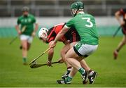 4 November 2018; Chris Nolan of Mount Leinster Rangers in action against Trevor Corcoran of Coolderry during the AIB Leinster GAA Hurling Senior Club Championship quarter-final match between Coolderry and Mount Leinster Rangers at Bord na Mona O'Connor Park in Tullamore, Offaly. Photo by Barry Cregg/Sportsfile