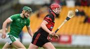 4 November 2018; Michael Malone of Mount Leinster Rangers in action against Stephen Connolly of Coolderry during the AIB Leinster GAA Hurling Senior Club Championship quarter-final match between Coolderry and Mount Leinster Rangers at Bord na Mona O'Connor Park in Tullamore, Offaly. Photo by Barry Cregg/Sportsfile