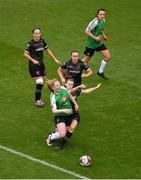 4 November 2018; Amber Barrett of Peamount United goes down under the challenge of Lauren Dwyer of Wexford Youths during injury time at the end of the Continental Tyres FAI Women's Senior Cup Final match between Peamount United and Wexford Youths Women FC at the Aviva Stadium in Dublin. Photo by Brendan Moran/Sportsfile