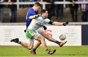 4 November 2018; Darren Hughes of Scotstown in action against Kevin McKernan of Burren during the AIB Ulster GAA Football Senior Club Championship quarter-final match between Burren and Scotstown at Páirc Esler in Newry, Down. Photo by Oliver McVeigh/Sportsfile