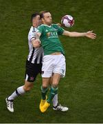4 November 2018; Karl Sheppard of Cork City in action against Brian Gartland of Dundalk during the Irish Daily Mail FAI Cup Final match between Cork City and Dundalk at the Aviva Stadium in Dublin. Photo by Brendan Moran/Sportsfile