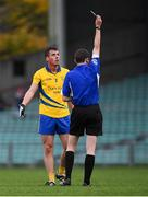 4 November 2018; David Meehan of The Nire is shown the black card by referee David Murnane during the AIB Munster GAA Football Senior Club Championship quarter-final match between Adare and The Nire at the Gaelic Grounds in Limerick. Photo by Piaras Ó Mídheach/Sportsfile