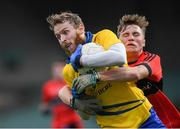 4 November 2018; Thomas O'Gorman of The Nire in action against Aodhan O'Connor of Adare during the AIB Munster GAA Football Senior Club Championship quarter-final match between Adare and The Nire at the Gaelic Grounds in Limerick. Photo by Piaras Ó Mídheach/Sportsfile