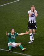 4 November 2018; Sean Hoare of Dundalk reacts as referee Neil Doyle awards a penalty to Cork City after he was adjudged to foul Karl Sheppard of Cork City, left, during the Irish Daily Mail FAI Cup Final match between Cork City and Dundalk at the Aviva Stadium in Dublin. Photo by Brendan Moran/Sportsfile