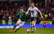 4 November 2018; Chris Shields of Dundalk in action against Kieran Sadlier of Cork City during the Irish Daily Mail FAI Cup Final match between Cork City and Dundalk at the Aviva Stadium in Dublin. Photo by Ramsey Cardy/Sportsfile